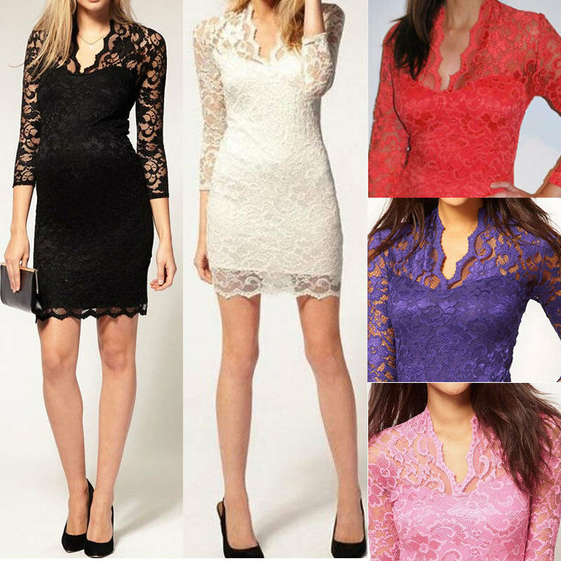 Women Lace Sexy Slim Dress Scalloped V Neck 3/4 Sleeve Cocktail Off