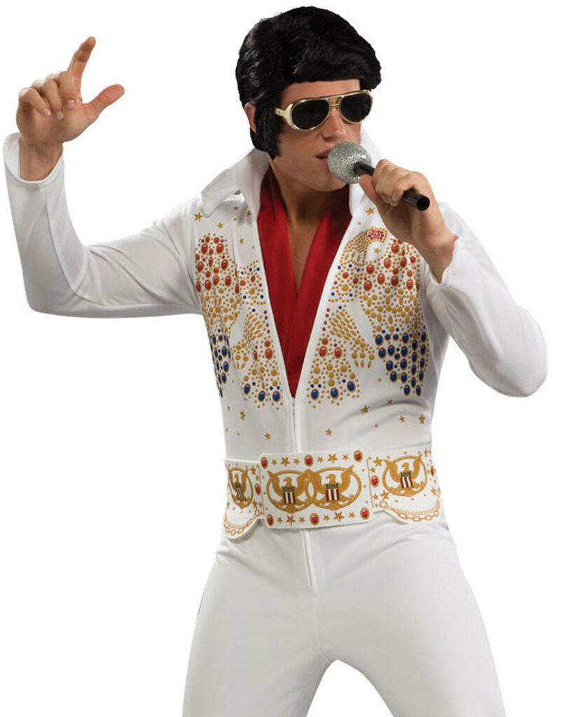 42608c0fcda3 Adult Elvis Skinny White Rhinestone Jumpsuit Vegas Mens Halloween on ...