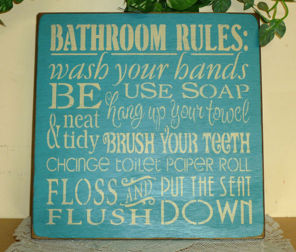 House Rules Or Bathroom Sign Cute Owl Wood Hanging Plaque