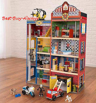 Kidkraft Fire House Police Station Deluxe Wooden Kids Rescue Toy