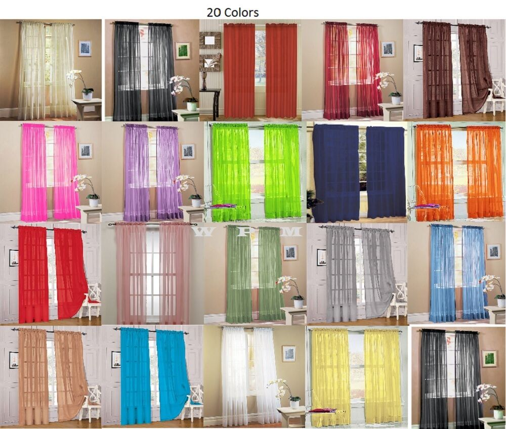 Piece Sheer Voile Window Curtain Panel drape more an 15 colors