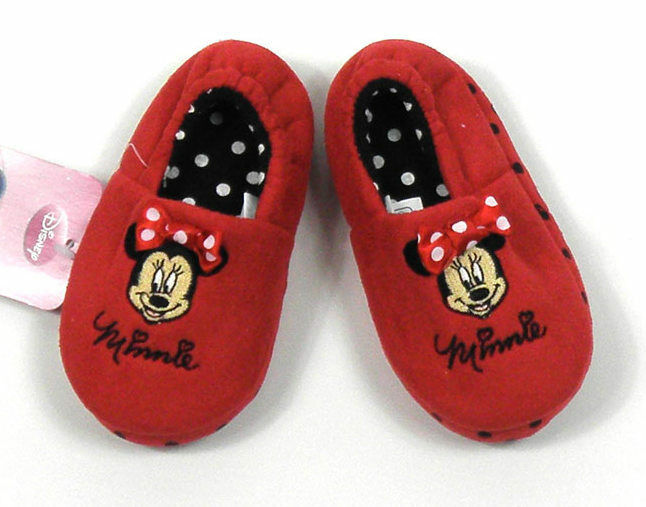 Baby Girls Babies Minnie Mouse Slippers Elasticated Heel NEW 5 6 7 8 9