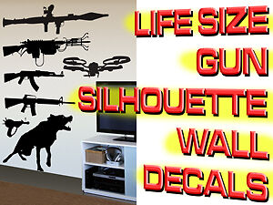 LIFESIZE Machine Gun Wall Decal Stickers Call Duty Style of COD MW3