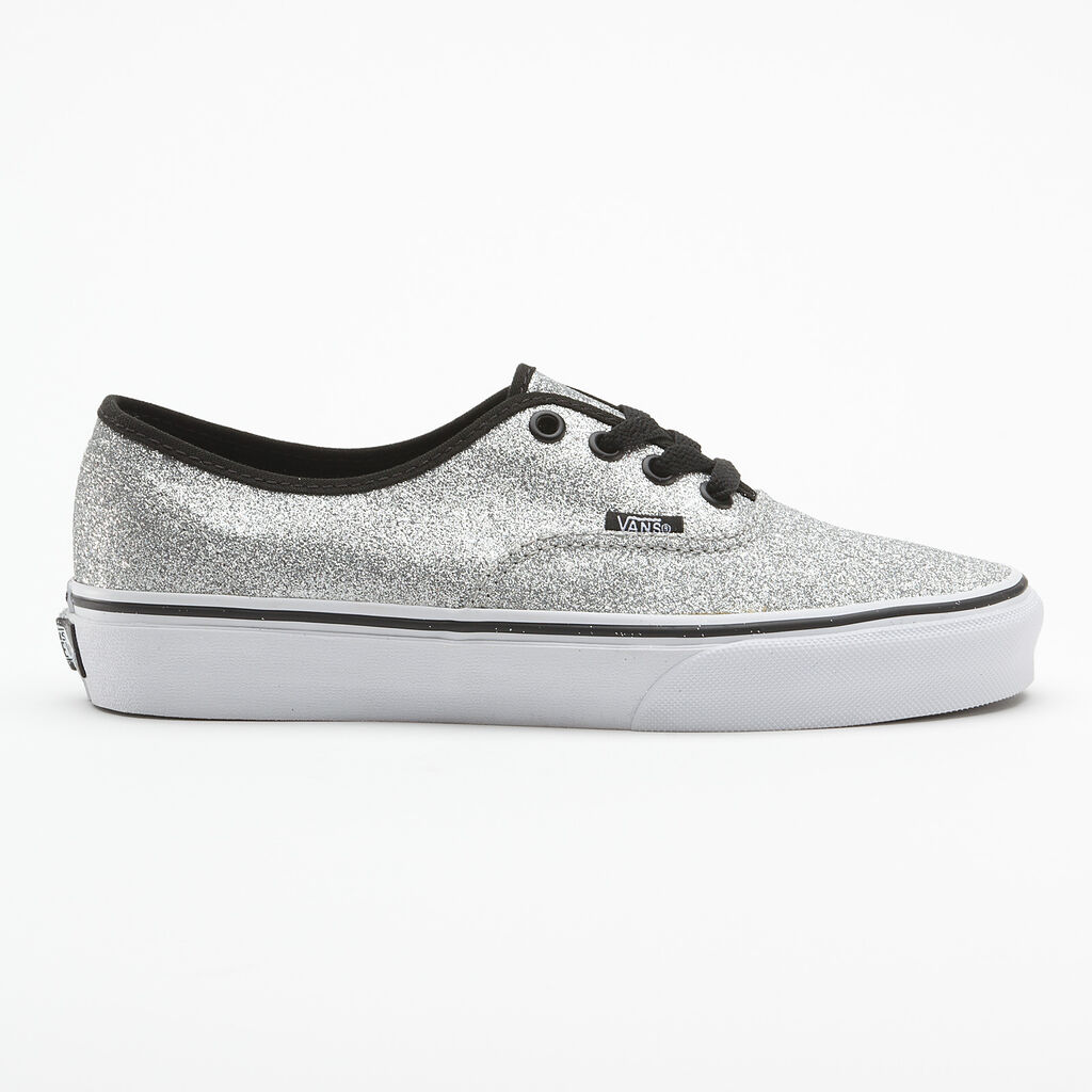 d7897b91137711 Vans Authentic Shiny Glitter Silver trainers classic womens shoes ...