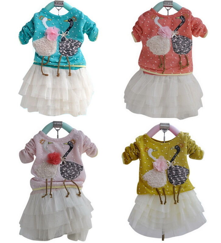 NWT Girls Baby Toddlers Kids Knit Dress Party Clothing Swan Princess