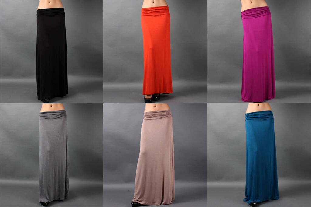 Colored Plain Draped JERSEY MAXI LONG SKIRT Sleek Ruched Casual