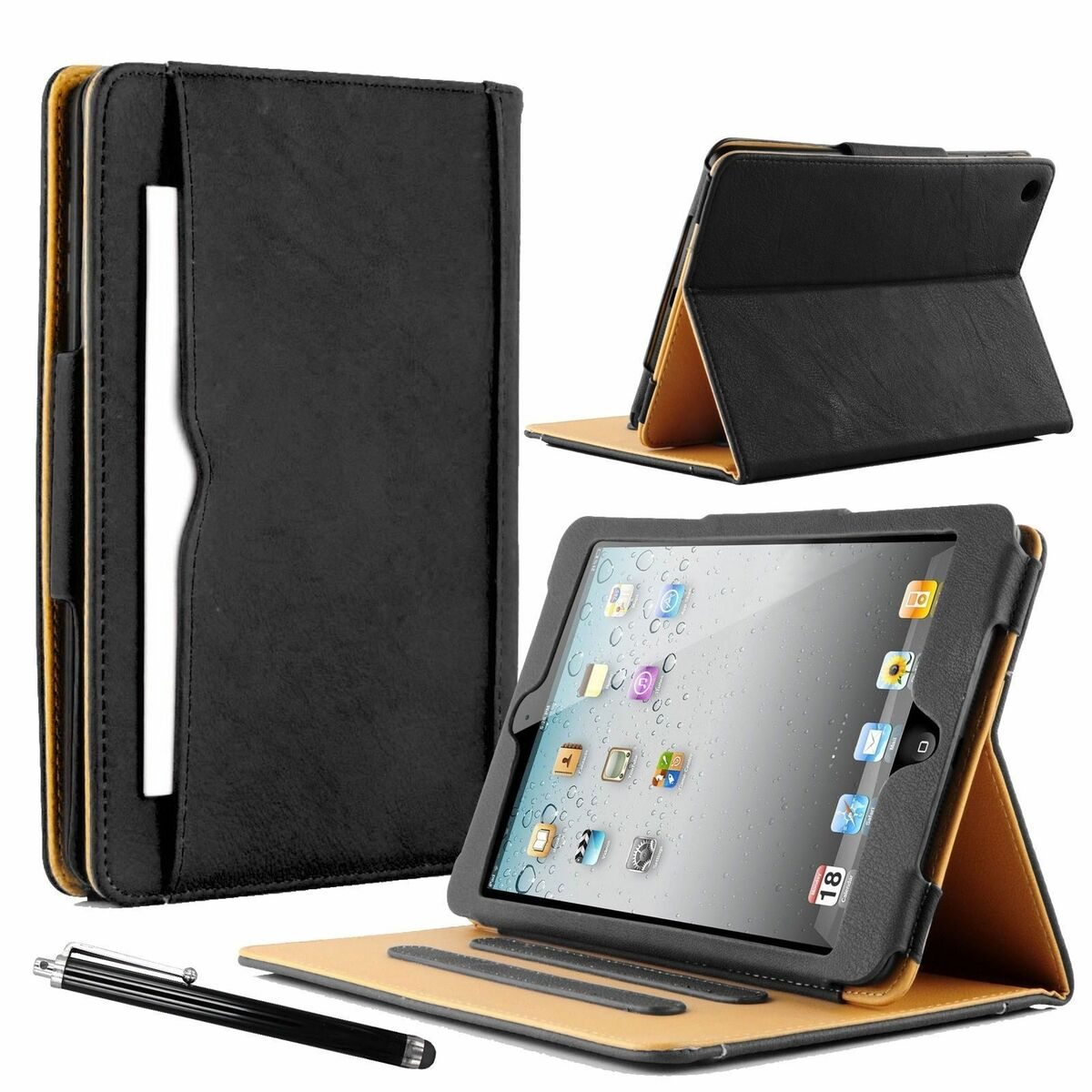 Luxury real leather wallet smart stand case cover for ipad 234 air 2017 18 mini 