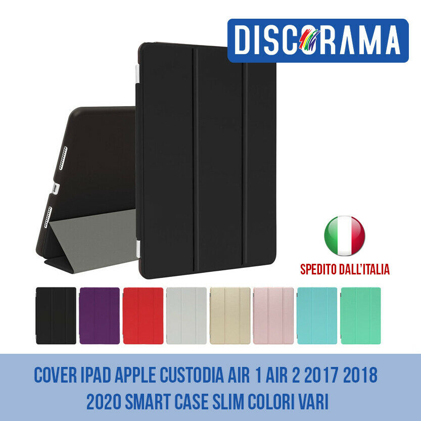 Cover ipad apple custodia air 1 e air 2 smart case slim contro urti colori vari 