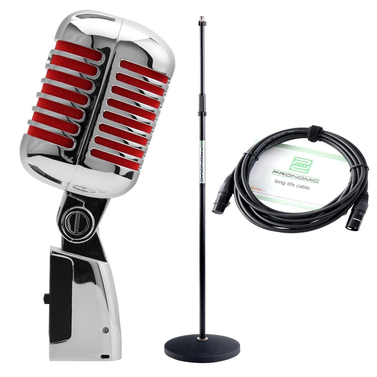 Microfono dinamico elvis rock n roll rockabilly dj pa r tro mic set suppoto cavo 