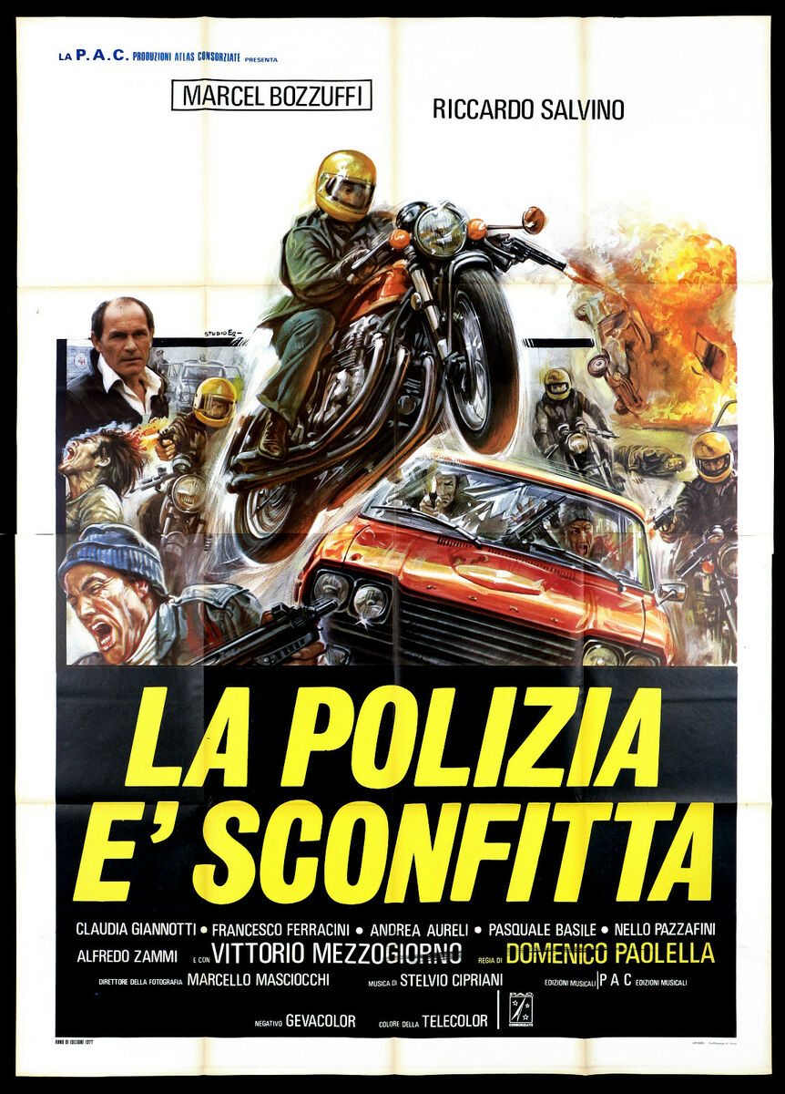 La polizia e sconfitta manifesto cinema moto poliziesco 1977 movie poster 4f 