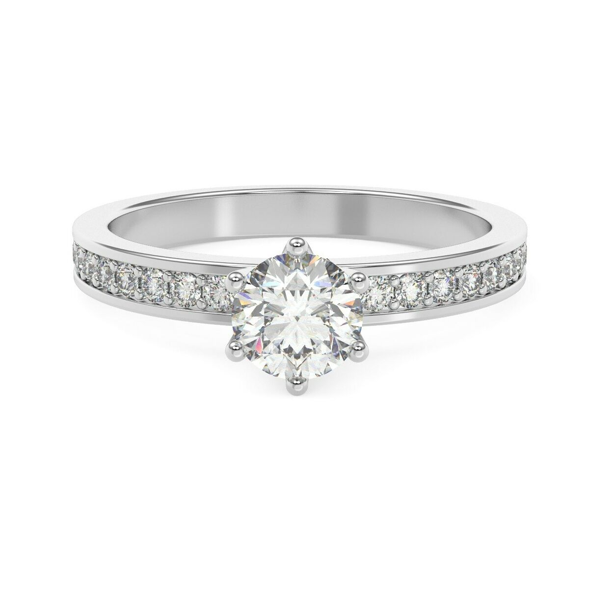 Round diamond six claw engagement ring 18k white gold uk hallmarked 
