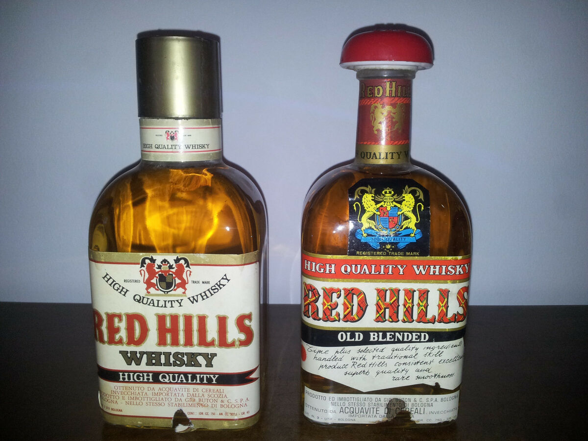2 whisky red hills high quality buton 75 cl 43 vol vintage 