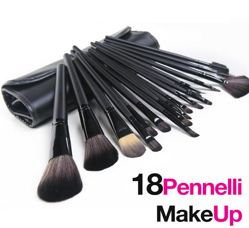 Set 18 pennelli per trucco cosmetica make up ombretto fard con custodia borsa 