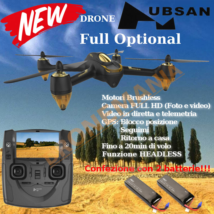 Hubsan h501s drone foto video in diretta monitor 4 3 gps camera 1080p 2batterie 