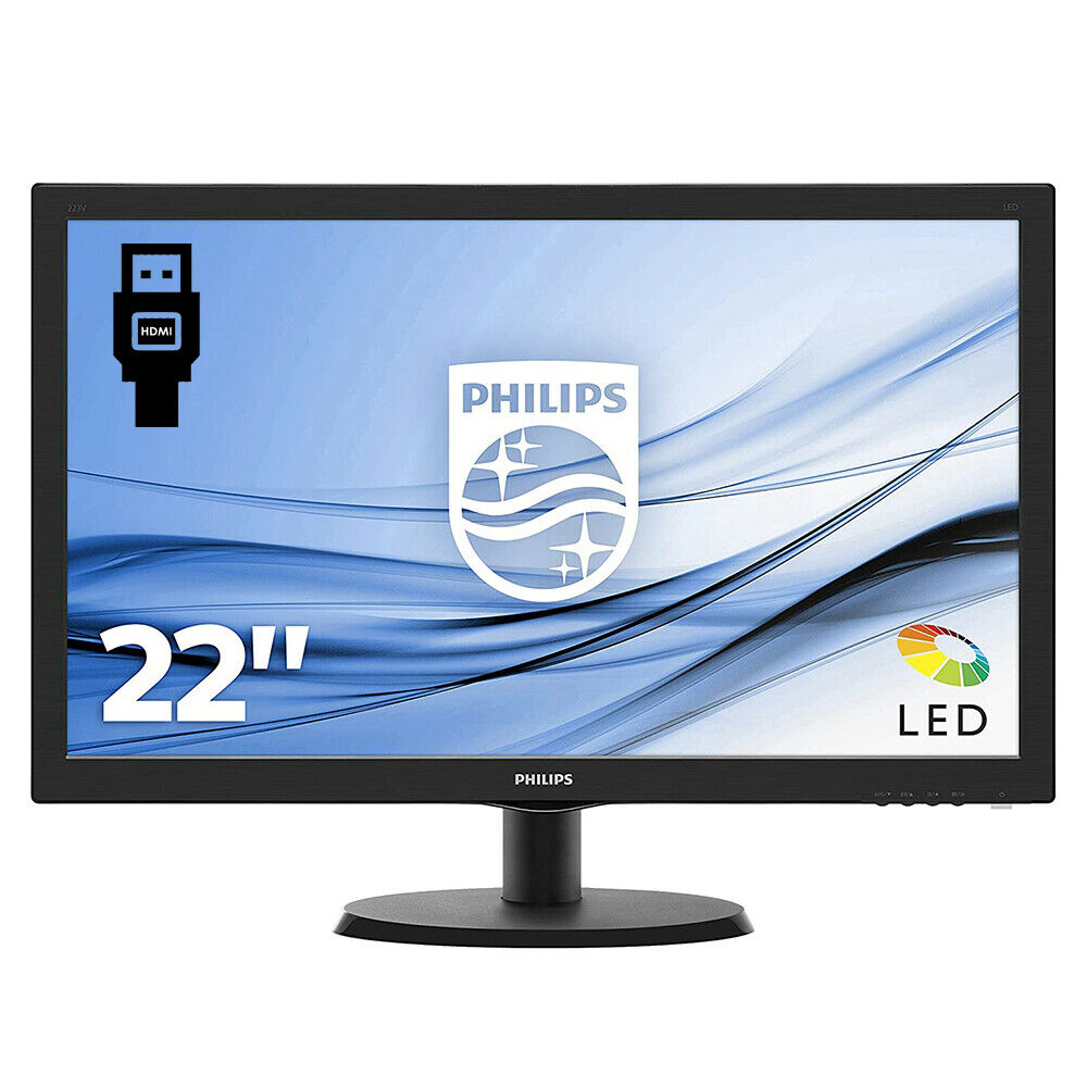 Monitor pc 22 pollici philips full hd led monitor hd vga desktop widescreen 16 9 