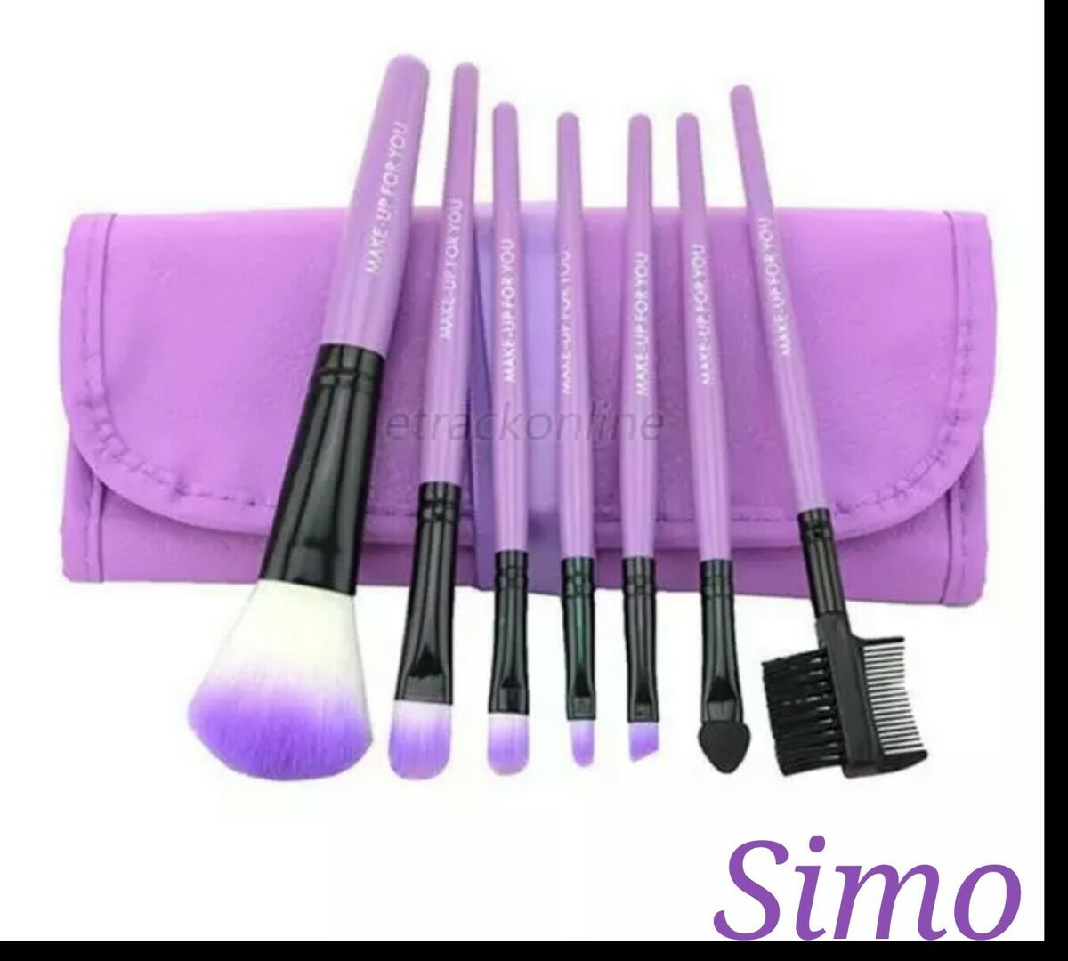 Set pennelli make up 7 pennelli trucco cosmetica brush pochette borsa ecopelle 