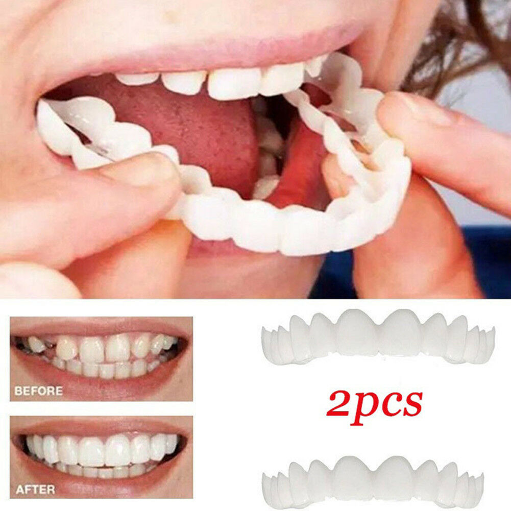 2pcs unisex snap on smile comfort fit flex finti denti top veneer protesi pretty 