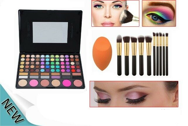 Set trousse spugnetta make up 10 pennelli trucco fondotinta fard brush 