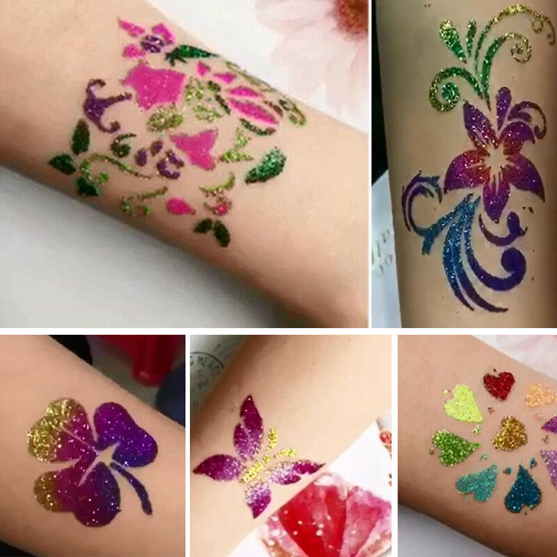 Body art tattoos temporary glitter powders stencils brush glue tool shimmer kit 