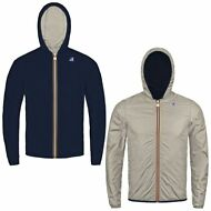 K-WAY reverse giacca UOMO CAPPUCCIO JACQUES PLUS DOUBLE KWAY IMPERMEABILE F60vcj