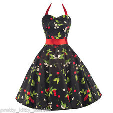 PRETTY KITTY VINTAGE RED CHERRY PROM 50s ROCKABILLY SWING COCKTAIL DRESS 8-18