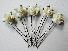 15 Ivory Rose Wedding Hair Slides / Pins, ANY COLOURS