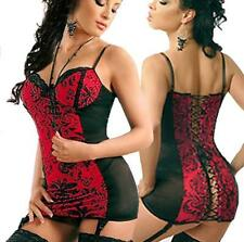 Lingerie Bustier Chemise With Garters Thong ( S to 2X )