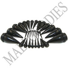 V031 Black Acrylic Stretchers Tapers Expanders Ear Plugs Stretching Kit 3 pairs
