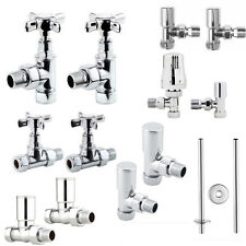 15mm Chrome Heated Towel Rail Radiator Valves Taps