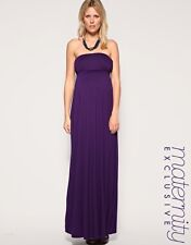 New ASOS Maternity Bandeau Purple Maxi Dress 8 10 12 14