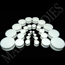 """V018 Acrylic Double Flare White Solid Saddle Ear Plugs Earlets 10g to 2"""" PAIR"""
