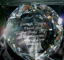 PERSONALISED SPARKLY DIAMOND CUT CRYSTAL PAPERWEIGHTS