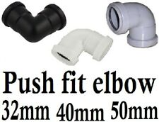 Push fit waste knuckle bend elbow 32/40/50 mm wh,blk,gr