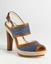 COACH Daria Blue Denim Platform Sandals Heels 8 8.5 10