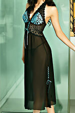 Black | Aqua Plus Size Chiffon and Lace Halter Gown | Long Nightie #JEPHLN