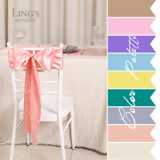 50 pieces Wedding Party Banquet 6x108inch Satin Chair Cover Sash Bow COLORS