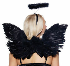 Black Deluxe Feather Angel Accessory Kit (Wings/Halo) FREE SHIPPING WITHIN USA!