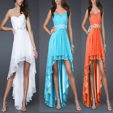 High-Low Style Blue Beads Chiffon Prom Dress Bridesmaid  Homecoming Party Dress