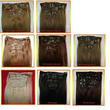 "22"" CLIP ON IN HUMAN HAIR EXTENSIONS BLONDE BROWN OFF BLACK CHOOSE COLOR"
