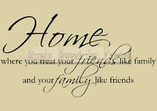 Home Friends Family Vinyl Wall Saying Lettering Quote Art Decoration Decal Sign