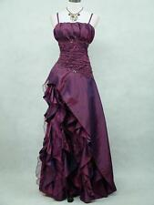 Cherlone Plus Size Satin Dark Purple Boho Lace Gown Wedding/Evening Dress 18-24