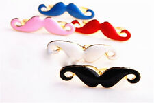 Ajustable Goth Punk Biker Moustache Doble Dedo Anillo 2 Colores