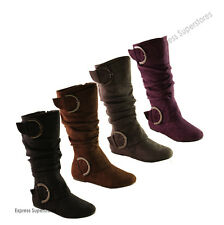 Slouch Knee High Women Dress Comfy Fashion Flat Suede Boots Size