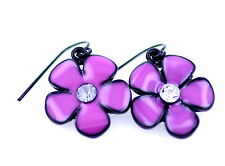 Art Deco style pretty glaze and crystal flower earrings 3 colours