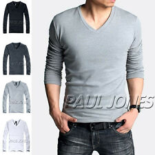 Cheap Sale~Tops Sexy Mens Slim Fitted Long T-Shirt Cotton V-Neck Simple Shirts