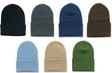 NEW PLAIN CUFFED KNIT BEANIE HAT SKULL CAP LONG 7 COLORS AVAILABLE