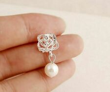 Silver and pearl / crystal rose stud earrings, Super cute