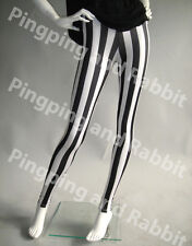 Black and White Vertical Stripes Mime Spandex Leggings Pants Striped Tights