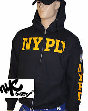 NYPD NAVY NEW YORK POLICE DEPARTMENT ZIPPERED HOODIE YELLOW LOGO SLEEVE MENS COP