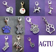 PICK YOUR CHARM Clip On Silver Dog Animal Paw Print Best Friend BFF Bone Charm